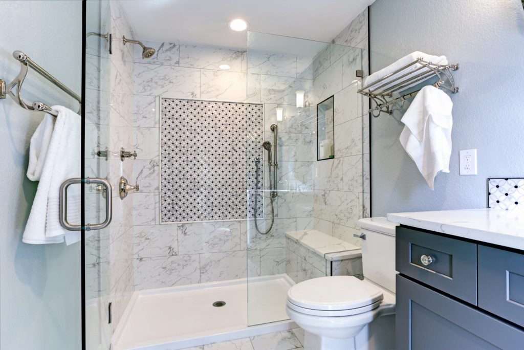 modern bathroom shower glass enclose and marble wall tiles - bathroom remodeling services