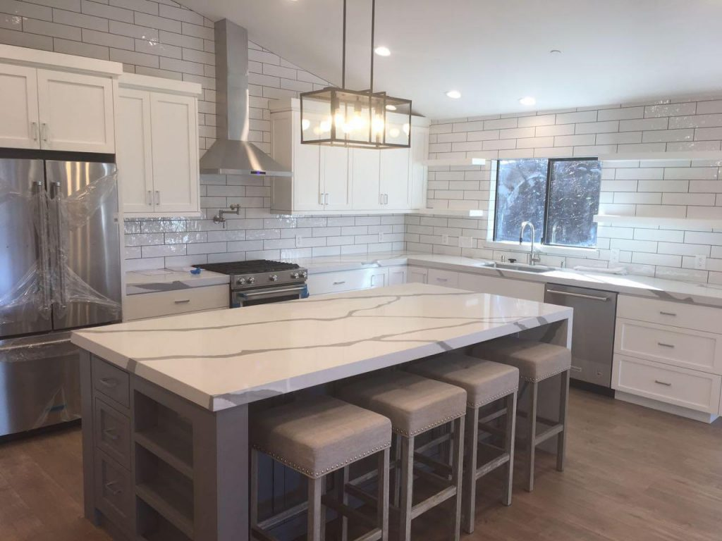 amazing kitchen remodeling with marble countertop and kitchen island