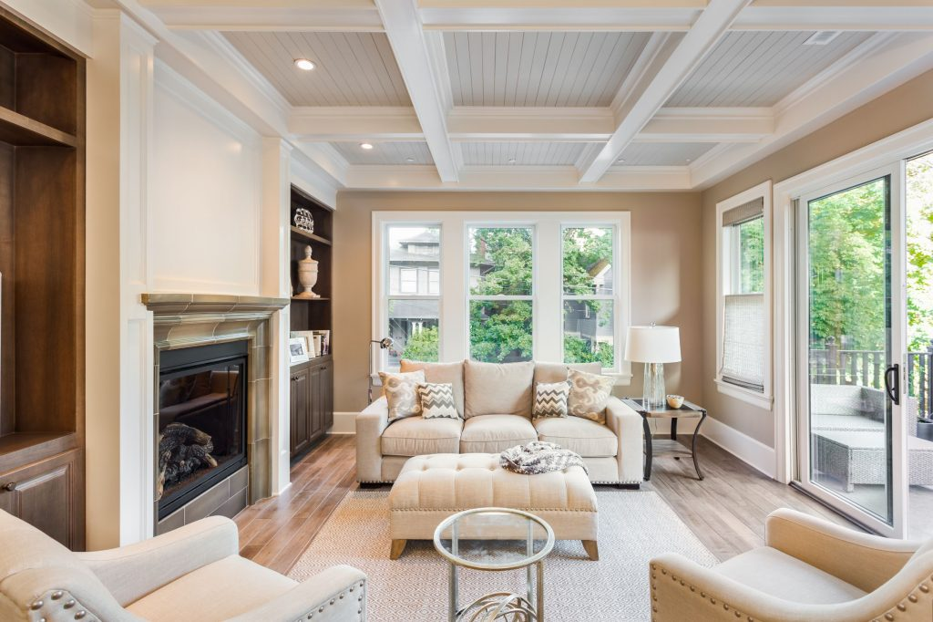 modern living room with waffle ceiling and build in fireplace - ADU Construction