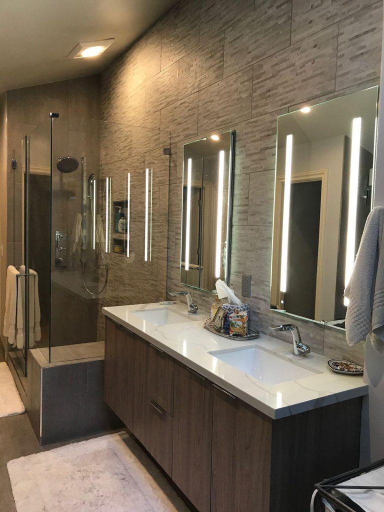 Custom Bathroom Design with Double Sink and Wooden Vanity - Bathroom Remodeling Milpitas