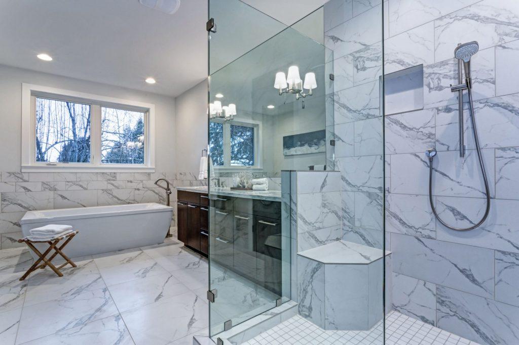 Luxury Bathroom with Freestanding Bathtub and Walk in Shower - Bathroom Remodeling San Bruno