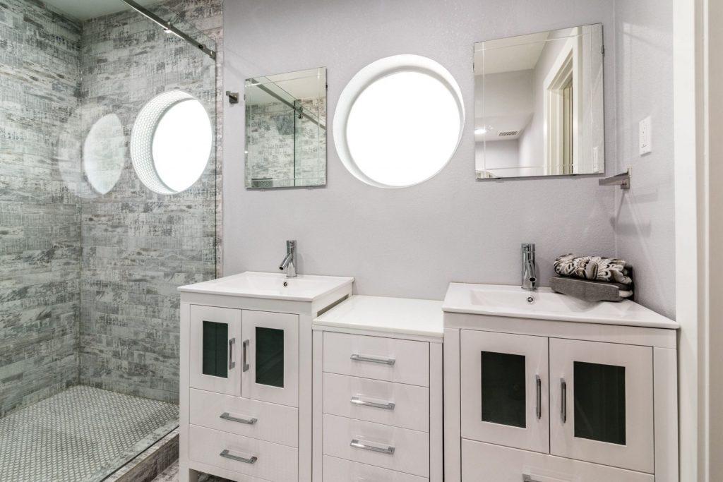 Custom Bathroom with Double Sink and Walk in Shower - Bathroom Remodeling Santa Clara
