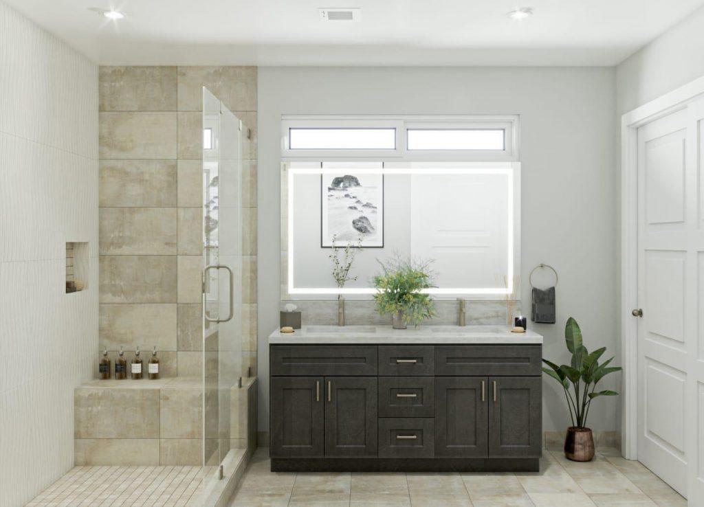 Custom Bathroom with Walk in Shower and Backlit Mirror - Bathroom Remodeling Redwood City