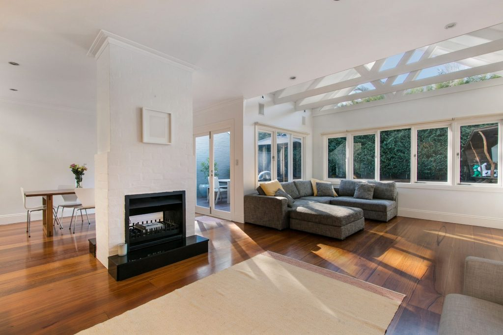 Custom Living Room with Crown Moulding Trim and Build in Fireplace - Home Renovation San Jose