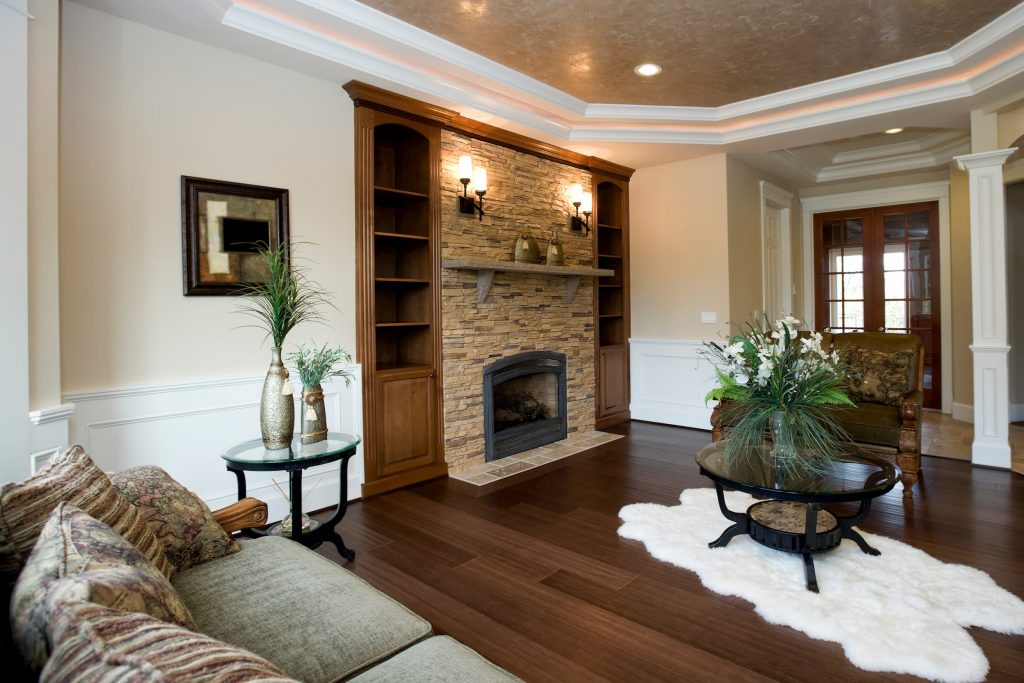 Custom Family Room with Crown Moulding Trim - Home Remodeling San Mateo
