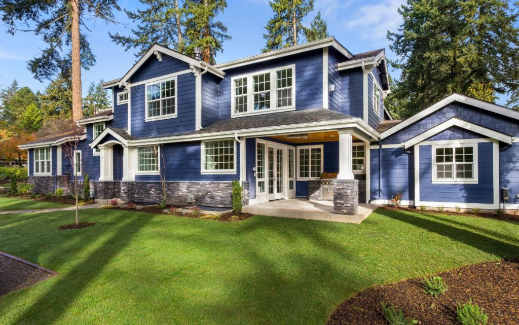 Big blue house with attached dwelling unit